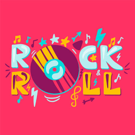 Rock n roll label with vinyl. Retro music symbol. Heavy metal sign. Vector