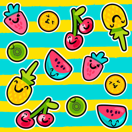 Vector Summer Fruits Patterns in cartoon style with smiles. Fruits and berries. Kissing orange. Smiling pineapple and strawberry. Hugging cherries. Sweet backdrop