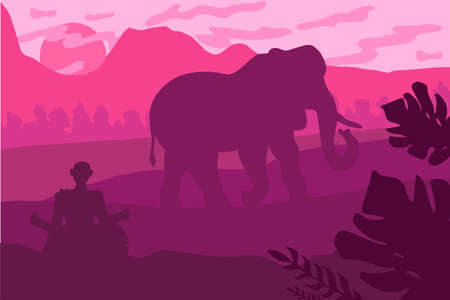 Indian Landscape With Elephant and Yog. Tropical Wildlife Panorama. Natural scene. Pink sunset. Vector
