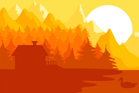 Forest house near the mountains and lake with duck. Morning in nature. Green village landscape. Ecology place for living. Sunrise. Panorama in yellow colors. Vector Illustration