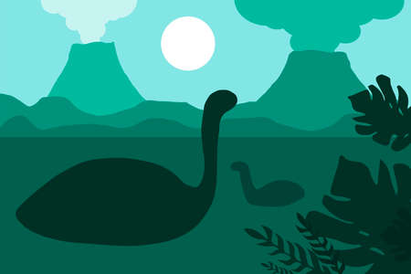 Age of dinosaurs in silhouettes. The natural landscape with the volcanoes and the sea. Tropical ocean shore. Mesozoic era. Green colors. Vector