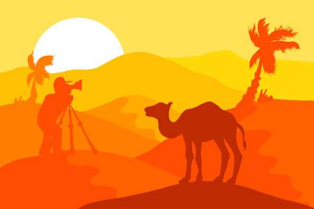 Deserto di sabbia con cammello e fotografo, palme e sole. Vettore