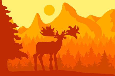 Elk in the morning coniferous forest near the mountains under sun. Bright sunrise. Natural reserve panorama. Wildlife scene. Vector