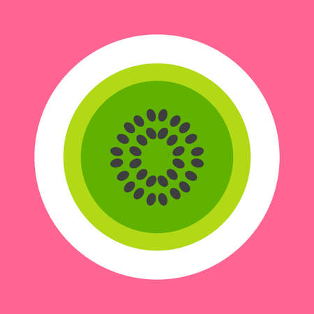 Kiwi cartoon sticker. Nice fruit. Girl fashion patch. Sweet and tasty natural food icon. Vector 矢量图像