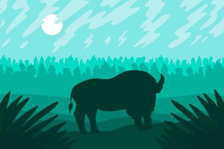 Landschaft mit wildem bizon auf dem Feld. Prärielandschaft. Grünes Panorama. Natürliche Szene. Vektor