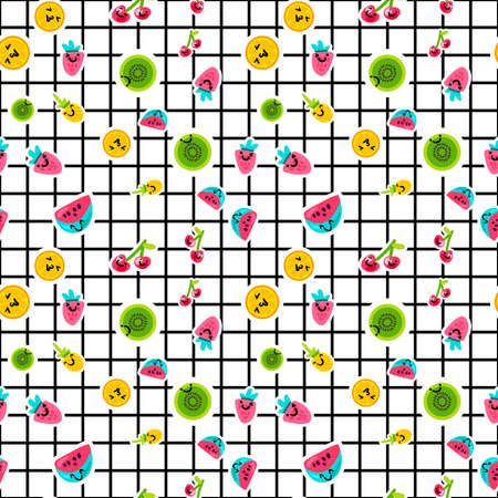 Vector Summer Fruits Patterns in cartoon style. Fruits and berries. Sweet backdrop 矢量图像