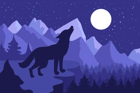 Wild Wolf Howling On The Hillside near forest and mountains. Outdoor nighr landscape and panorama with moon. Vector Illustration