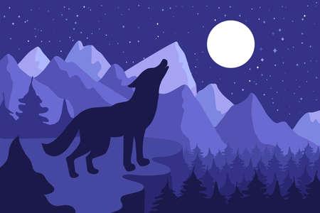 Wilder Wolf, der auf dem Hügel nahe Wald und Bergen heult. Nighrlandschaft im Freien und Panorama mit Mond. Vektor Vektorgrafik