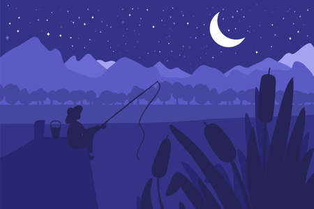 Fisherman with fishing rod on river bridge. Forest with river and park landscape. Night panorama. Natural scene. Vector