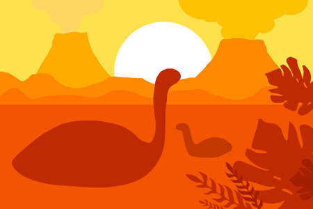 Age of dinosaurs in silhouettes. The natural landscape with the volcanoes and the sea. Tropical ocean shore. Mesozoic era. Yellow colors. Sunset or sunrise. Vector