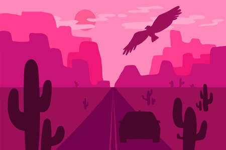 Desert landscape with eagle, cactus and sun. Wild west. Vector
