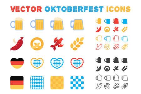 Stylish vector Oktoberfest and beer icons set. Outline and flat style. Vector Vektoros illusztráció
