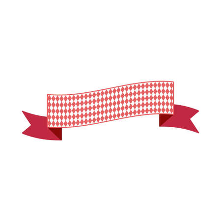 Oktoberfest simple ribbon for banner and headline in bavarian colors. Bar red ribbon. Vector  イラスト・ベクター素材