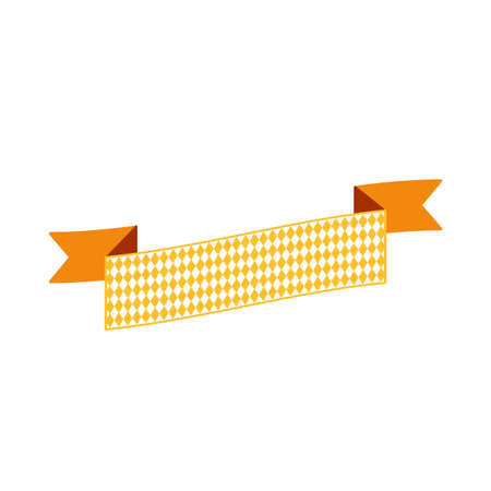 Oktoberfest simple ribbon for banner and headline in bavarian colors. Bar yellow ribbon. Vector