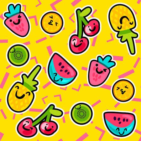 Vector modelli di frutta estiva in stile cartone animato. Frutta e bacche. Sfondo dolce