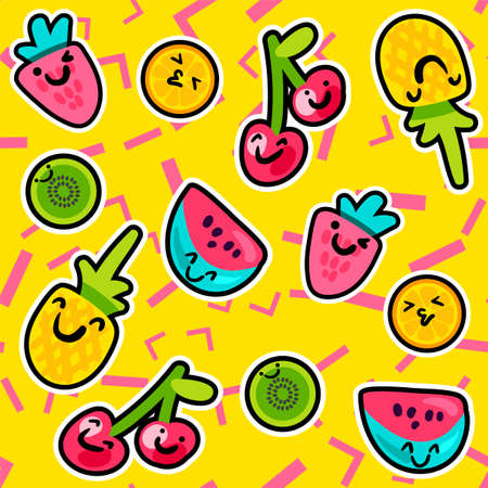 Vector Summer Fruits Patterns in cartoon style. Fruits and berries. Sweet backdrop Vettoriali