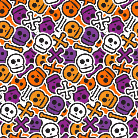 Happy Halloween Seamless Pattern. Scary and horror background. 31th October ornament for kid and youth stuff. Vector