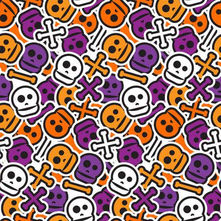 Modèle sans couture Halloween heureux. Contexte effrayant et horreur. Ornement du 31 octobre pour les enfants et les jeunes. Vecteur