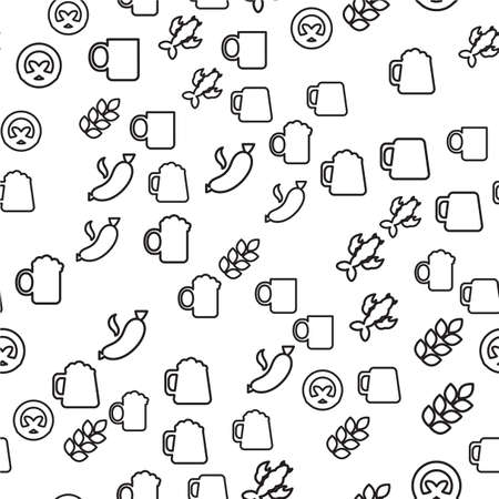 Oktoberfest Seamless Pattern. Black White Beer Festival Ornament for print, cloth, wallpaper, backdrop. Vector Illustration
