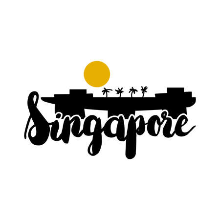 Speaking Singlish Text. Singapore holiday stylish symbol. Vector Иллюстрация
