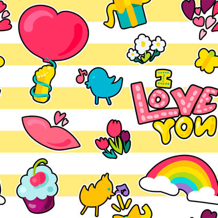 Vector Romantic Love Seamless Pattern in doodle style with shape. Girl fashion ornament. Nice cartoon background. Fun backdrop. Vectores