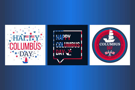 Happy Columbus Day Celebration Banner With USA Flag And Ship. Vector