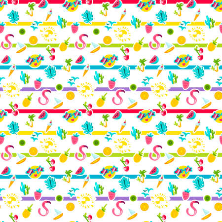 Vector Exotic Summer Seamless Pattern with shape. Fruits and berries. Girl fashion sweet ornament design. Beach cartoon background. Hot wrap Illustration