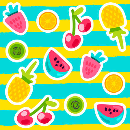 Vector Summer Fruits Patterns in cartoon style. Fruits and berries. Sweet backdrop Banque d'images - 122040723