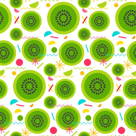 Sweet seamless pattern from tasty kiwi for print, fabric, textile, wallpaper. Vector Illustration