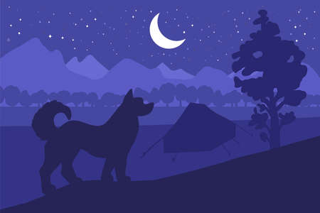 Forest camping with the best friend - dog. Vector Illustration