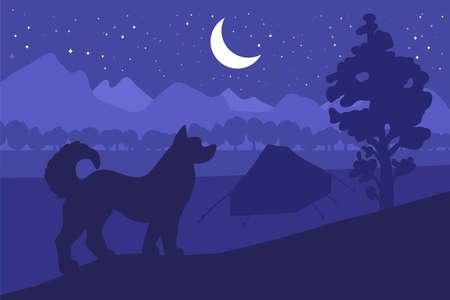 Forest camping with the best friend - dog. Vector Ilustração