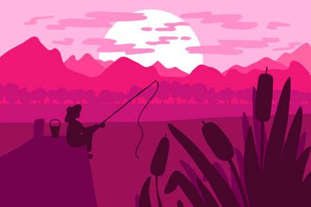 Pêcheur pêchant sur la jetée sur la rivière dans la zone naturelle au coucher du soleil. Vecteur