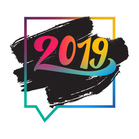 Lettering 2019 happy new year for print and poster, banner and sticker. Happy new year greeting card. Text for numbers with grunge texture and frame. Vector