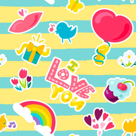 Vector romantic love symbols and patch I love you and girl fashion patchworks design. Isolated images of love and heart or rainbow and twit Banco de Imagens - 110639084