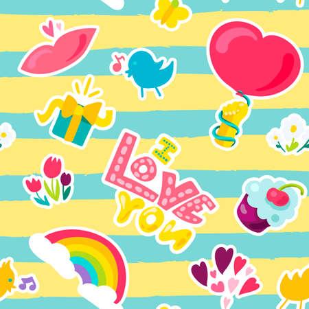 Vektor romantische Liebessymbole und Patch Ich liebe dich und Mädchen Mode Patchworks Design. Isolierte Bilder von Liebe und Herz oder Regenbogen und Trottel