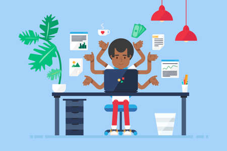 Workspace of Professional Working Afro-american Developer, Programmer, System Administrator or Designer with desk, chair, notebook. Business project or startup concept. Vector