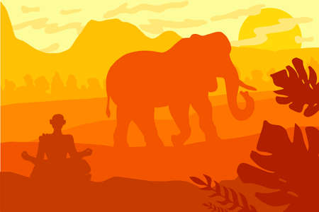Indian Landscape With Elephant and Yog. Tropical Wildlife Panorama. Natural scene in yellow, brown and orange colors. Vector