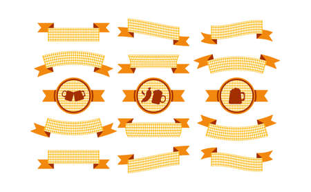 Oktoberfest simple ribbons set for banner and headline in bavarian colors. Bar yellow ribbon. Vector  イラスト・ベクター素材