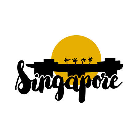 City Text Singapore with futuristic hotel building. Vector