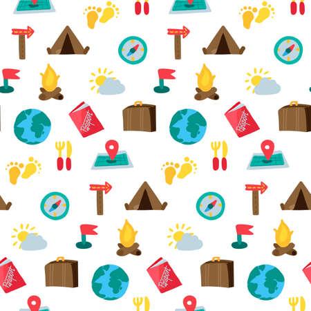 Cartoon reizen en kamperen naadloos patroon. Hipsterachtergrond. Vector Vector Illustratie