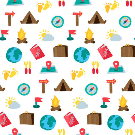 Dibujos animados viajando y acampando de patrones sin fisuras. Fondo inconformista. Vector Ilustración de vector