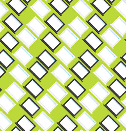 Vector stylish seamless pattern with notebook, smartphone and tablet in flat style. Cartoon design backdrop Vektorové ilustrace