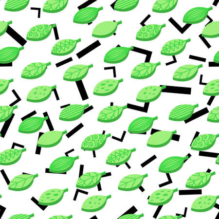 Green stylized leaves seamless vector pattern. Flat ornate foliage with lines abstract background