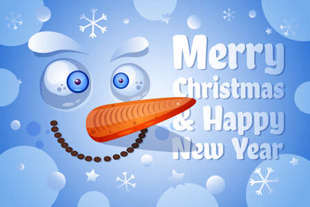 Merry Christmas, Happy New Year greeting card vector template. Funny snowman face flat illustration