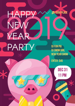 Happy New Year party, event poster vector template. 2019 Year of Pig flat banner, flyer illustration
