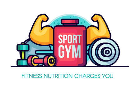 Sports GYM Nutrition Illustration