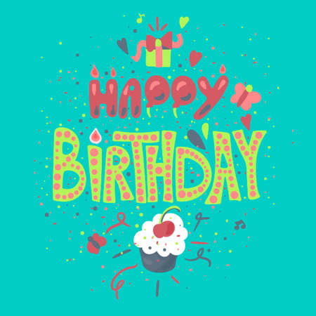 Happy Birthday hand drawn color lettering. Greeting card, poster, banner cartoon vector template Stock Illustratie