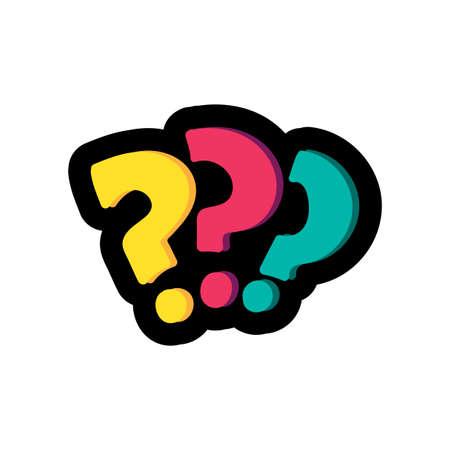 Question marks flat color illustration. FAQ, help. Interrogation signs hand drawn design element