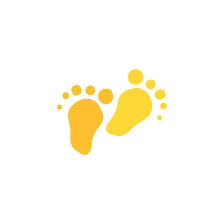 Footprint flat color illustration. Barefoot stamp. Human steps hand drawn vector design element