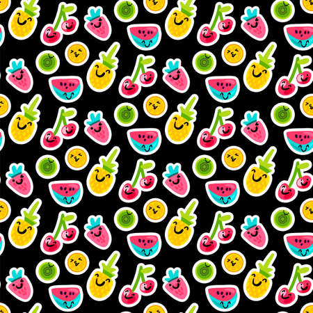 Color fruits emoji seamless vector pattern. Doodle cherry, kiwi, orange stickers on black background Ilustrace